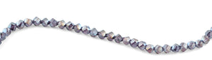 8mm Metal Blue Twist Faceted Crystal Beads