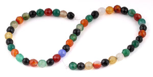 8mm Multi-Color Agate Faceted Gem Stone Beads