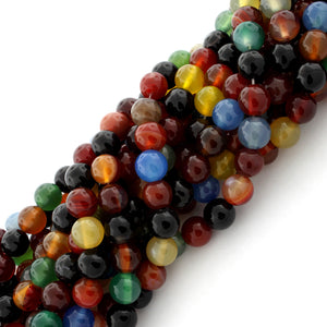8mm Multi Color Agate Gem Stone Beads