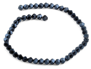 8mm Navy Blue Twist Faceted Crystal Beads
