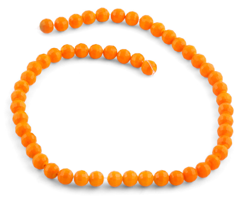 8mm Orange Faceted Round Crystal Beads