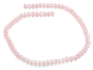8mm Pink Faceted Rondelle Crystal Beads