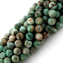 Load image into Gallery viewer, 8mm Plain Round Green Turquoise Gem Stone Beads