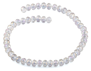 8mm Purple Grey Rondelle Faceted Crystal Beads