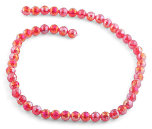 8mm Red Round Faceted Crystal Beads