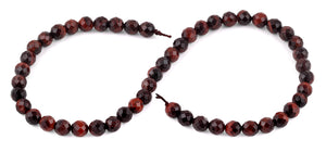 8mm Red Tiger Eye Faceted Gem Stone Beads