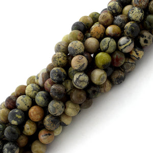 8mm Round Yellow Turquoise Gem Stone Beads