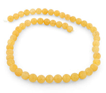 Load image into Gallery viewer, 8mm Yellow Jade Round Gem Stone Beads