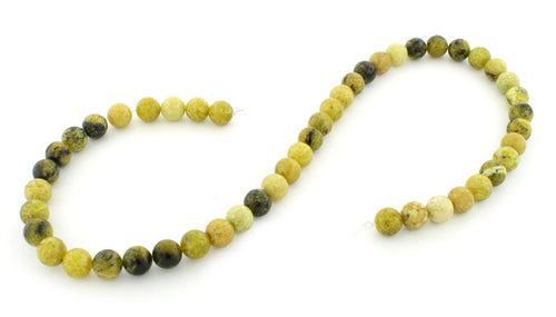 8mm Yellow Turtle Jasper Round Gem Stone Beads