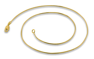 14K Gold Plated Sterling Silver 8 Sided Snake Chain Necklace 1.0mm