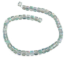 Load image into Gallery viewer, 8x8mm Clear Green Square Faceted Crystal Beads
