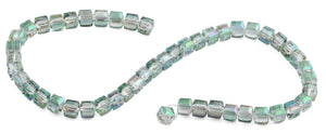 8x8mm Clear Green Square Faceted Crystal Beads
