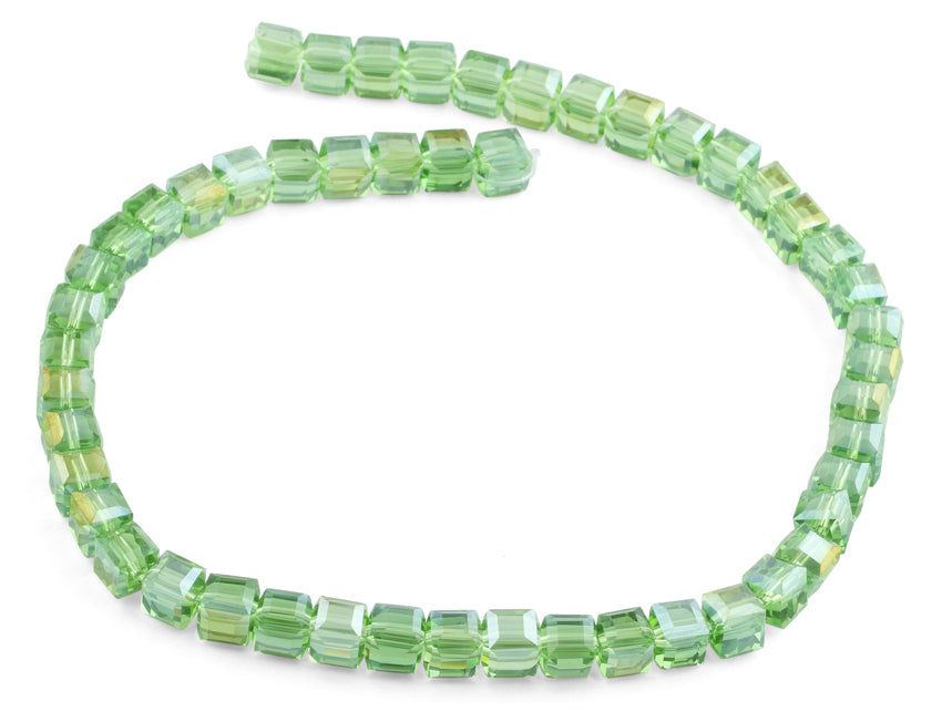 8x8mm Green Square Faceted Crystal Beads