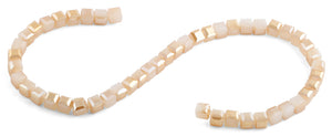 8x8mm Peach Square Faceted Crystal Beads