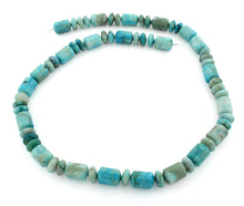 Load image into Gallery viewer, 9mm Tube & Rondelle Dyed Turquoise Jasper Gem Stone Beads