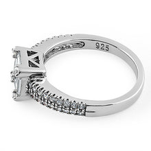 Load image into Gallery viewer, Sterling Silver Baguette Straight & Round Cut Clear CZ Engagement Ring