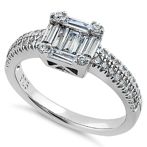 Sterling Silver Baguette Straight & Round Cut Clear CZ Engagement Ring