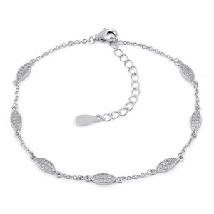Sterling Silver Clear CZ Marquise Charm Bracelet