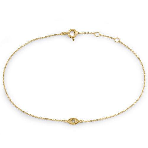 Solid 14K Yellow Gold Evil Eye CZ Bracelet