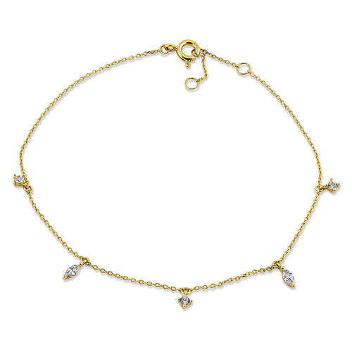 Solid 14K Yellow Gold Marquise & Round CZ Bracelet