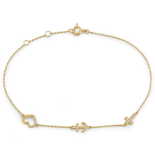 Solid 14K Yellow Gold CZ Heart, Anchor, and Cross Charm Bracelet