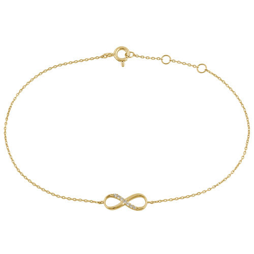 Solid 14K Yellow Gold CZ Infinity Bracelet