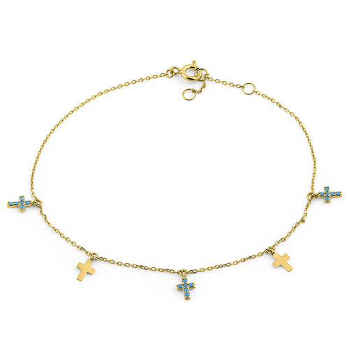 Solid 14K Yellow Gold Turquoise Cross Bracelet