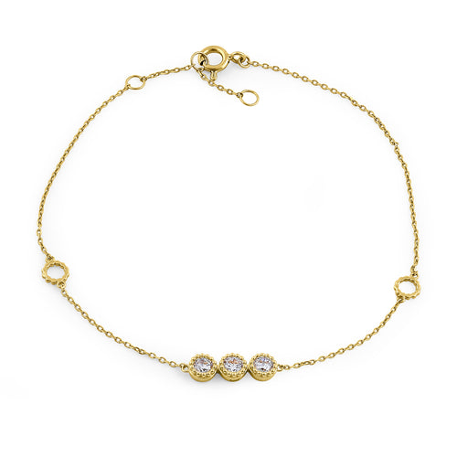 Solid 14K Yellow Gold Triple Round CZ Bracelet