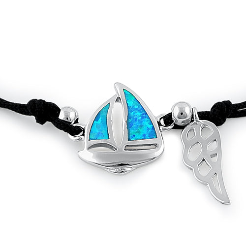 Sterling Silver Winged  Blue Lab Opal Sail Boat Adjustable Silk Bracelet