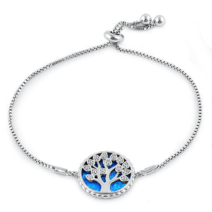 Sterling Silver Adjustable Tree of Life Blue Lab Opal & Clear CZ Box Chain Bracelet