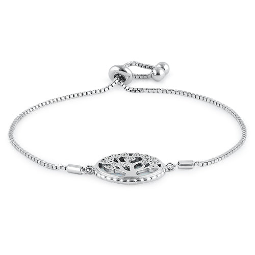 Sterling Silver Adjustable Tree of Life White Lab Opal & Clear CZ Box Chain Bracelet