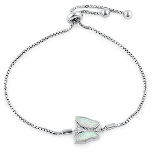 Sterling Silver Adjustable Butterfly White Lab Opal & Clear CZ Box Chain Bracelet