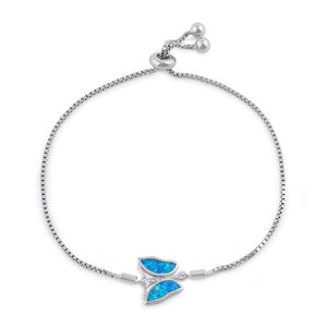 Sterling Silver Clear CZ and Blue Opal Butterfly Box Bracelet