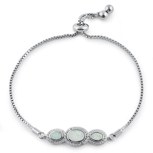 Sterling Silver Adjustable Triple Oval White Lab Opal & Clear CZ Box Chain Bracelet