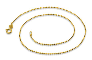 14K Gold Plated Sterling Silver Bead Chain 1.5MM