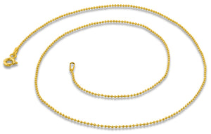 14K Gold Plated Sterling Silver Bead Chain 1.0MM