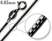 Black Rhodium Sterling Silver Box Chain 0.85MM