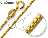 14K Gold Plated Sterling Silver Box Chain 0.85MM