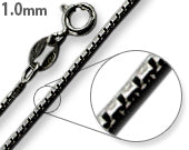 Load image into Gallery viewer, Black Rhodium Sterling Silver Box Chain 1MM