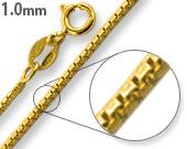 Load image into Gallery viewer, 14K Gold Plated Sterling Silver Box Chain 1MM
