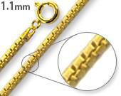 Load image into Gallery viewer, 14K Gold Plated Sterling Silver Box Chain 1.1MM