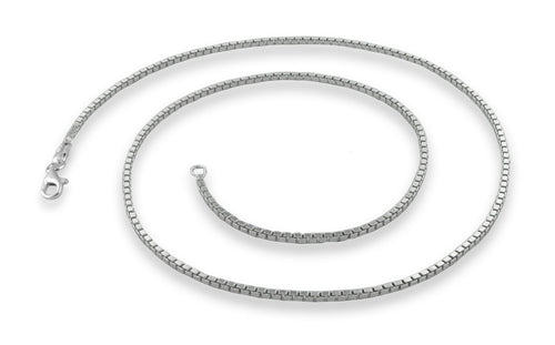 "Sterling Silver 20"" Box Chain Necklace 1.45MM"