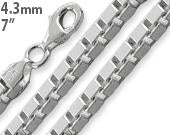 "Load image into Gallery viewer, Sterling Silver 7"" Box Chain Bracelet - 4.5MM"