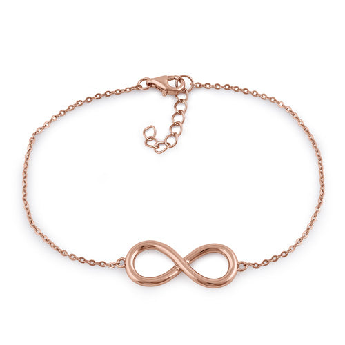 Sterling Silver Rose Gold Plated Infinity Bracelet