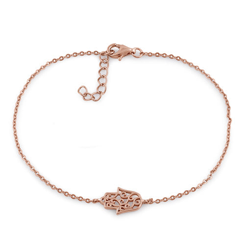 Sterling Silver Rose Gold Plated Hamsa Bracelet