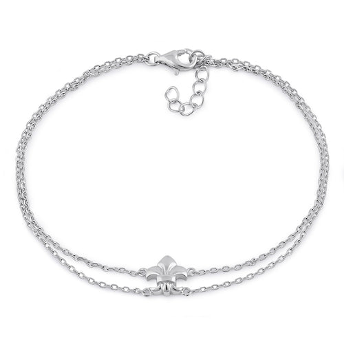 Sterling Silver Fleur De Lies Double Chain Bracelet