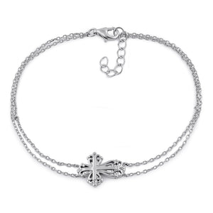 Sterling Silver Vintage Floral Cross Double Chain Bracelet