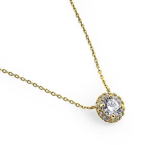 Solid 14K Yellow Gold Round Halo CZ Necklace