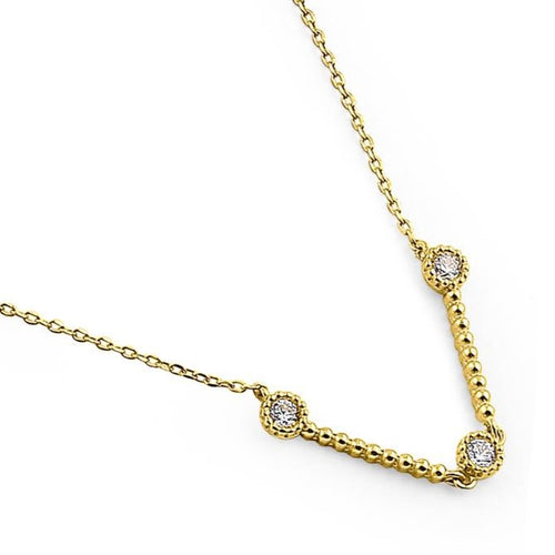 Solid 14K Yellow Gold Flex V Shape CZ Necklace