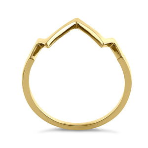 Solid 14K Yellow Gold Zig Zag Ring